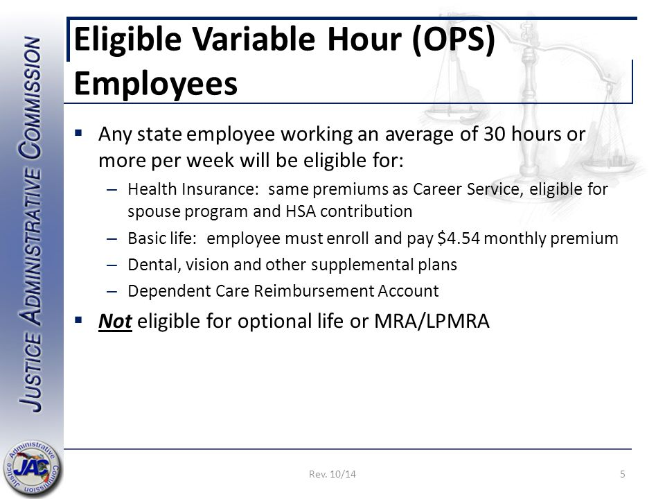 Eligible Variable Hour (OPS) Employees  Any state employee working an average of 30 hours or more per week will be eligible for: – Health Insurance: same premiums as Career Service, eligible for spouse program and HSA contribution – Basic life: employee must enroll and pay $4.54 monthly premium – Dental, vision and other supplemental plans – Dependent Care Reimbursement Account  Not eligible for optional life or MRA/LPMRA 5Rev.
