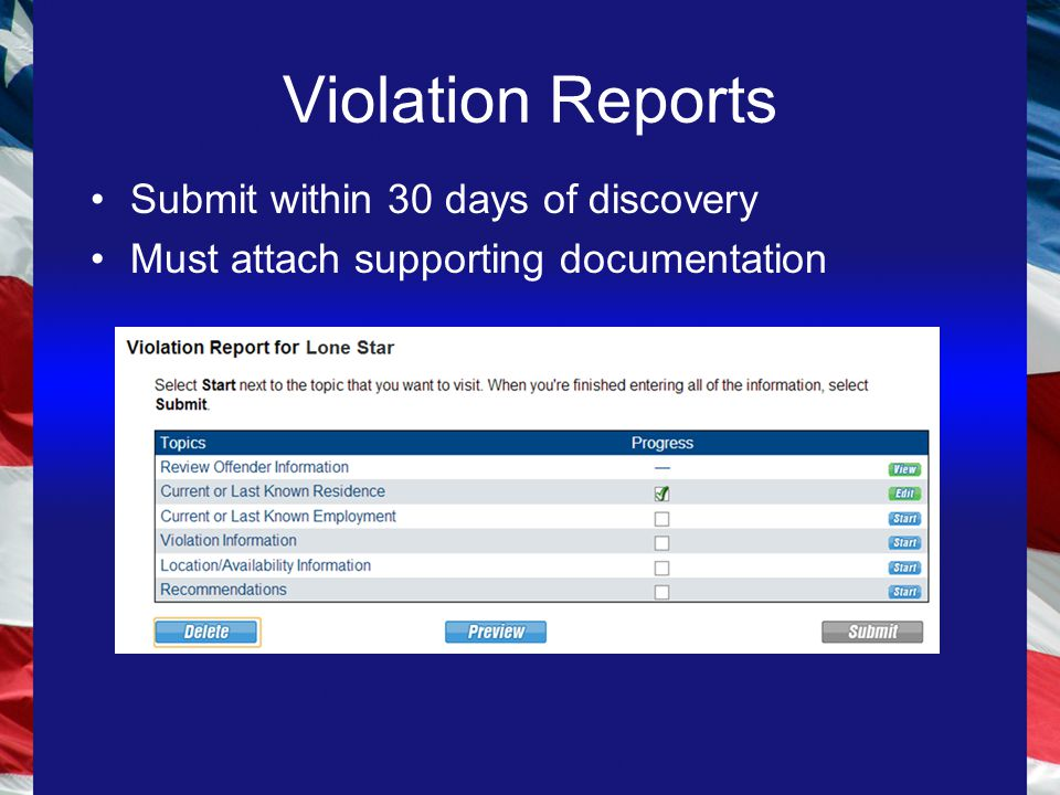 Violation Reports Submit within 30 days of discovery Must attach supporting documentation