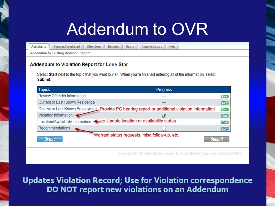 Addendum to OVR Updates Violation Record; Use for Violation correspondence DO NOT report new violations on an Addendum