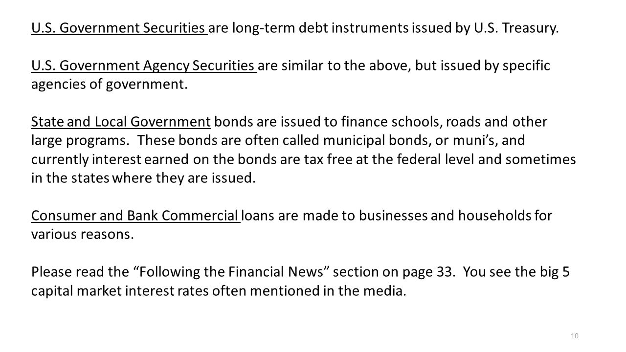 10 U.S. Government Securities are long-term debt instruments issued by U.S.