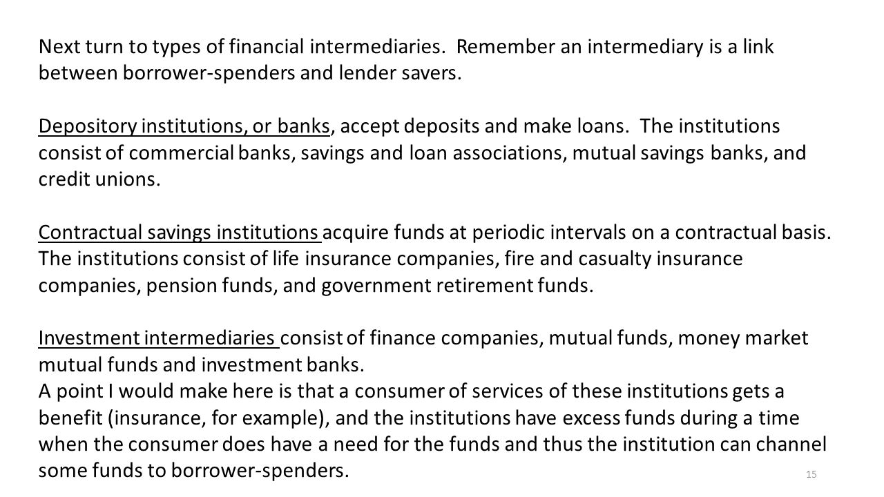 15 Next turn to types of financial intermediaries.