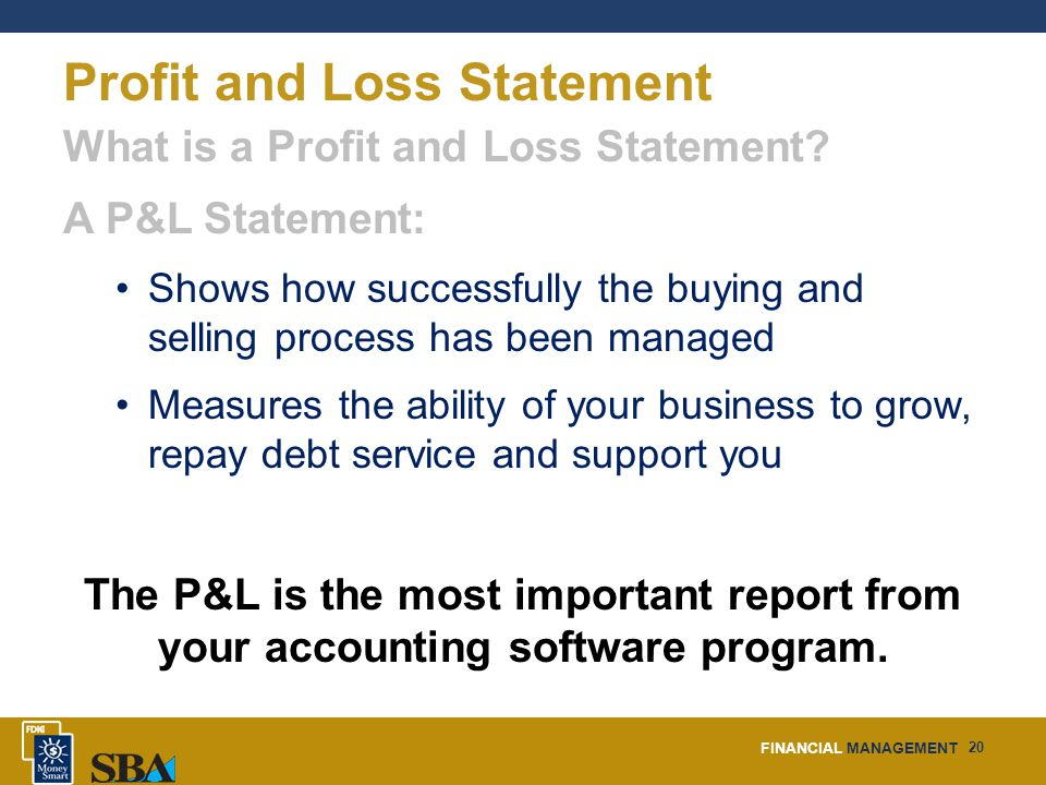 FINANCIAL MANAGEMENT 20 Profit and Loss Statement What is a Profit and Loss Statement.