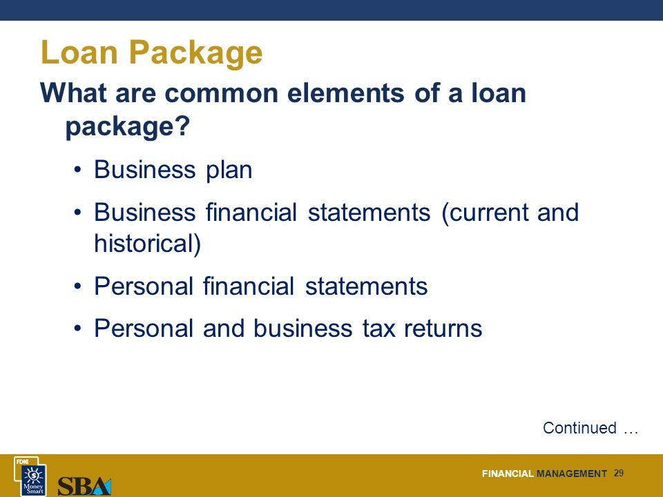 FINANCIAL MANAGEMENT 29 Loan Package What are common elements of a loan package.