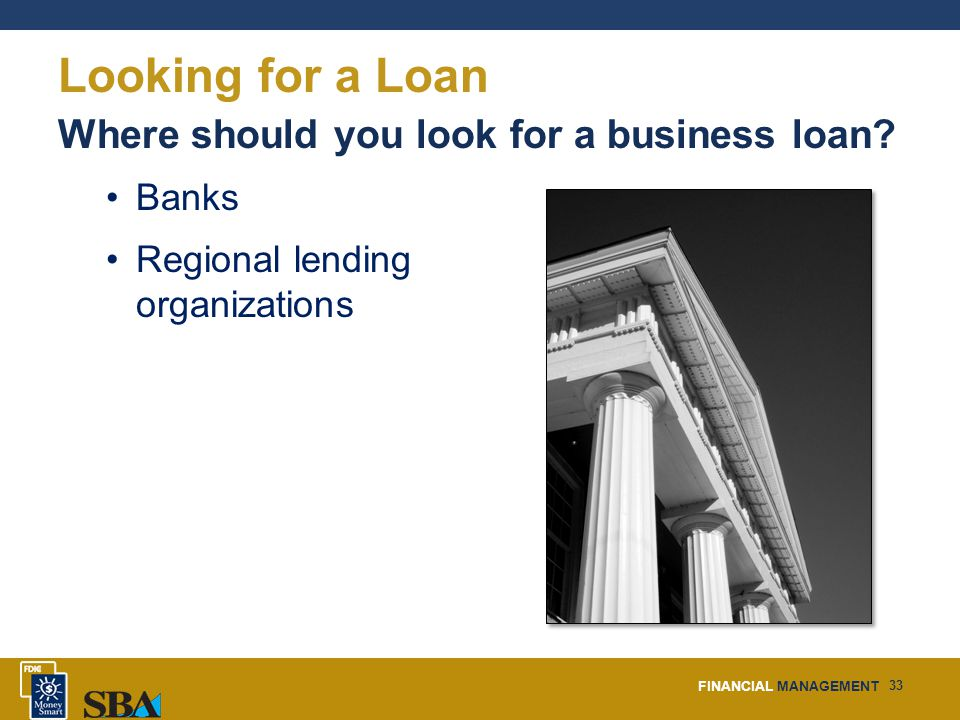 FINANCIAL MANAGEMENT 33 Looking for a Loan Where should you look for a business loan.