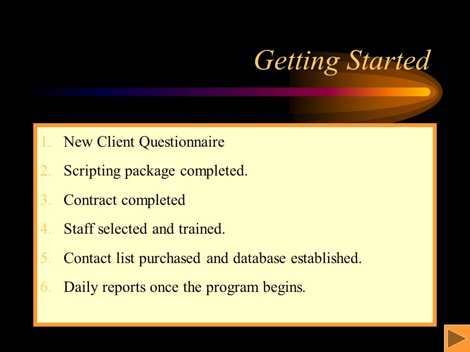 Getting Started 1.New Client Questionnaire 2.Scripting package completed.