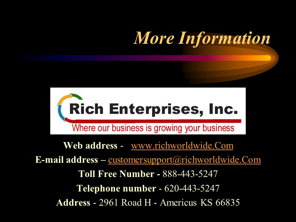 More Information Web address -    address – Toll Free Number Telephone number Address Road H - Americus KS 66835