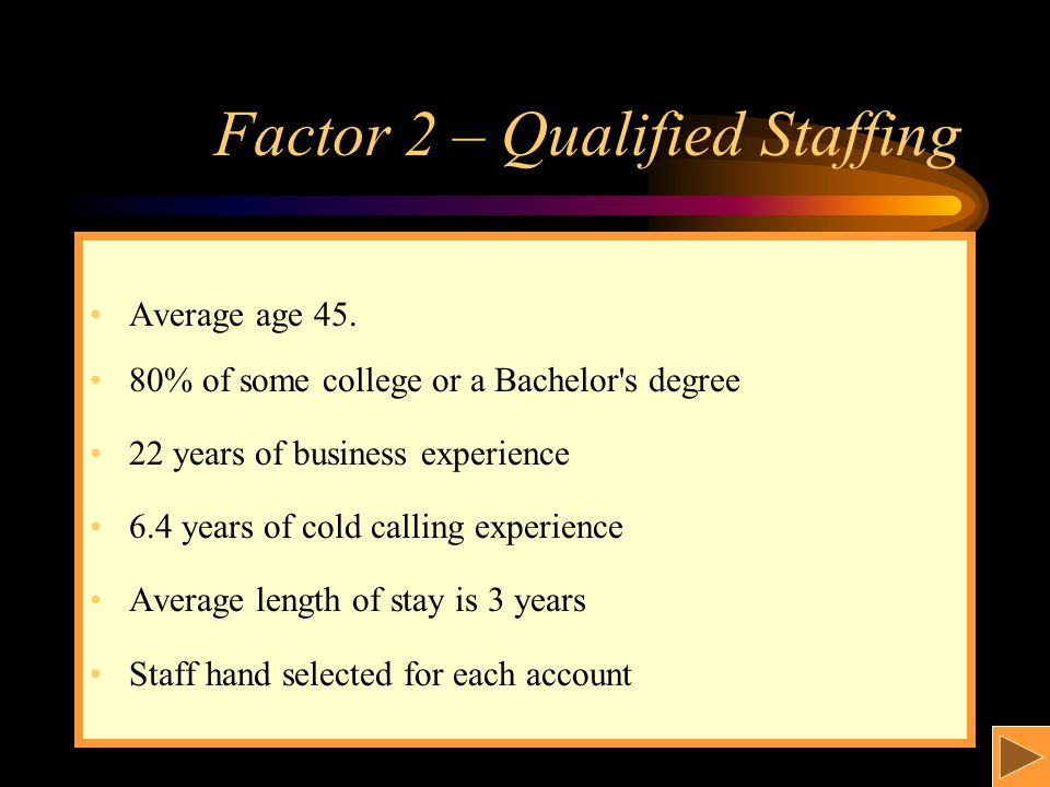 Factor 2 – Qualified Staffing Average age 45.