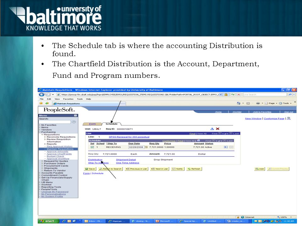 The Schedule tab is where the accounting Distribution is found.