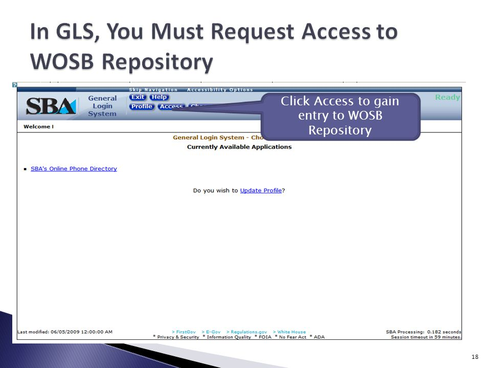 Click Access to gain entry to WOSB Repository 18