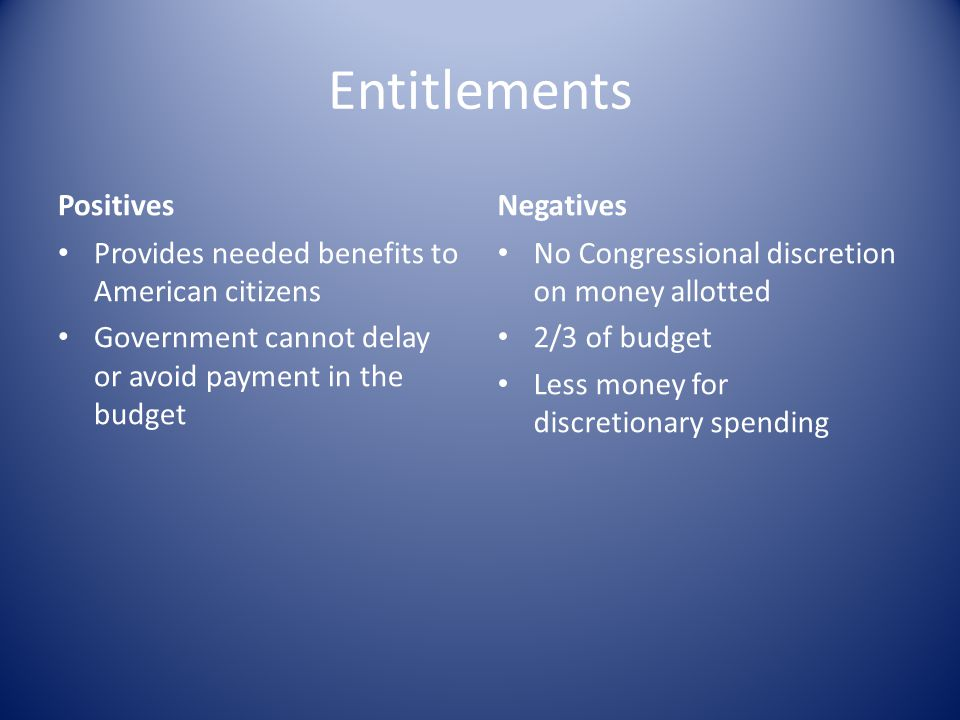 Entitlements Positives Provides needed benefits to American citizens Government cannot delay or avoid payment in the budget Negatives No Congressional discretion on money allotted 2/3 of budget Less money for discretionary spending