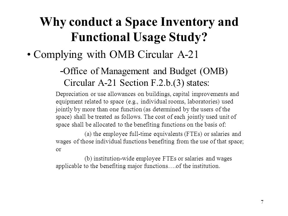 7 Why conduct a Space Inventory and Functional Usage Study.