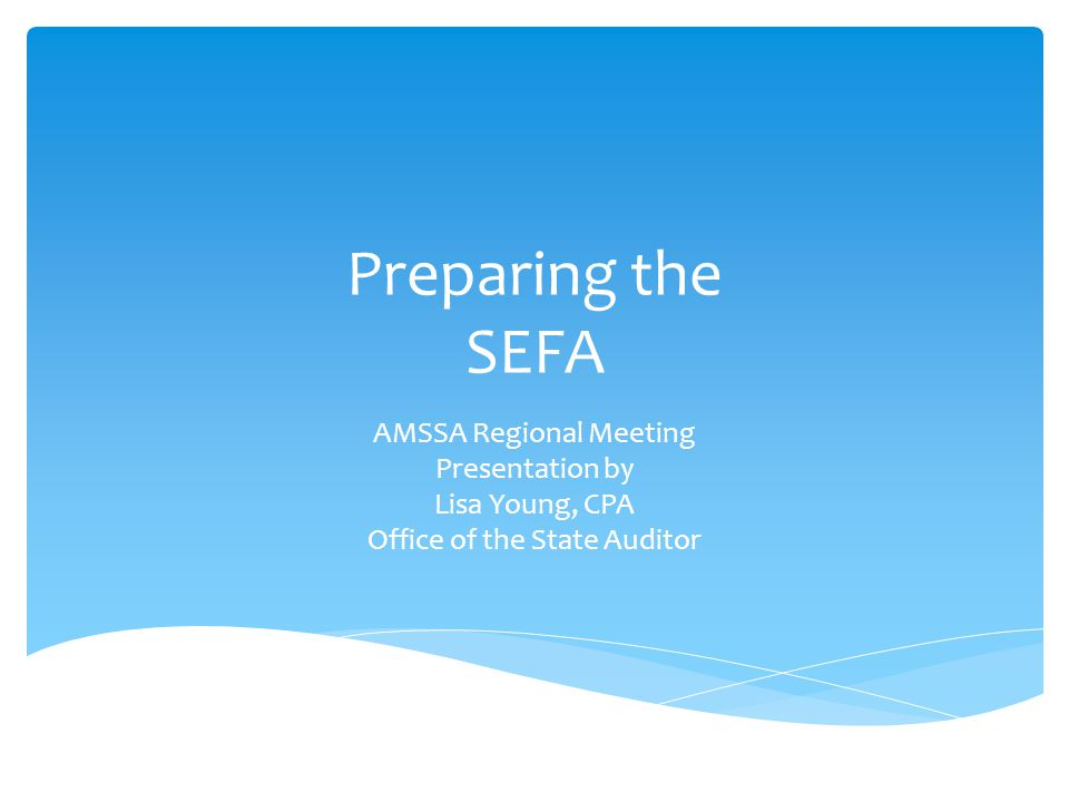 Preparing the SEFA AMSSA Regional Meeting Presentation by Lisa Young, CPA Office of the State Auditor