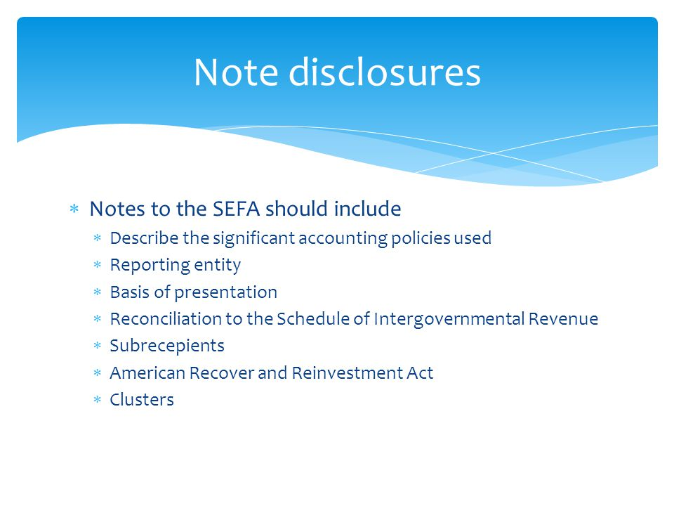  Notes to the SEFA should include  Describe the significant accounting policies used  Reporting entity  Basis of presentation  Reconciliation to the Schedule of Intergovernmental Revenue  Subrecepients  American Recover and Reinvestment Act  Clusters Note disclosures