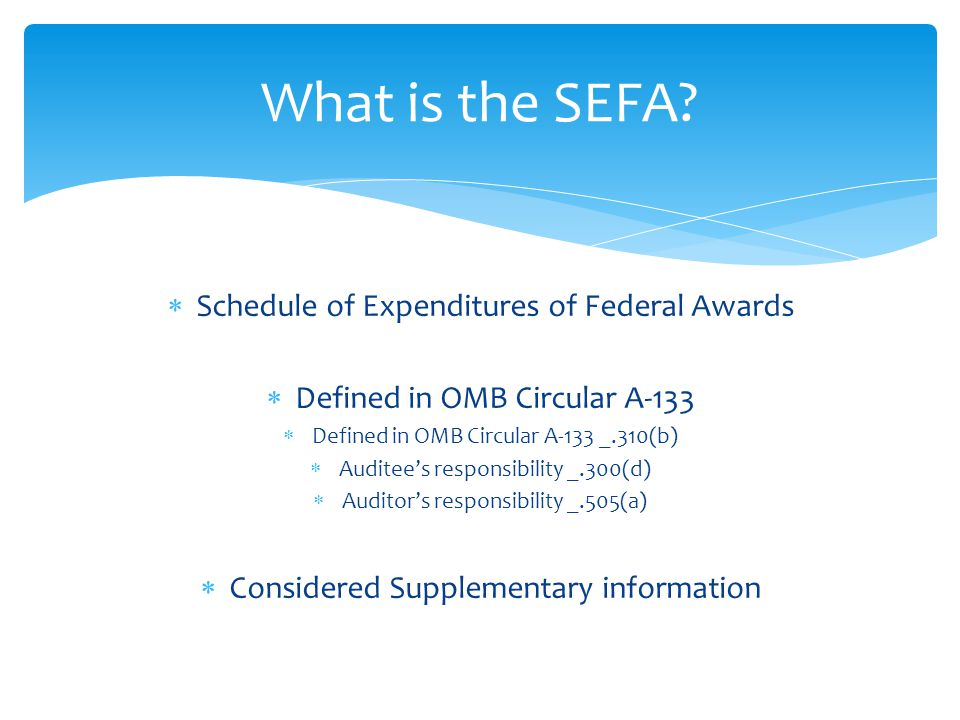  Schedule of Expenditures of Federal Awards  Defined in OMB Circular A-133  Defined in OMB Circular A-133 _.310(b)  Auditee's responsibility _.300(d)  Auditor's responsibility _.505(a)  Considered Supplementary information What is the SEFA