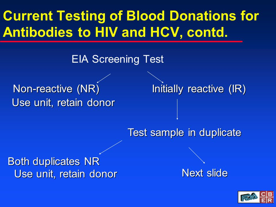Current Testing of Blood Donations for Antibodies to HIV and HCV, contd.