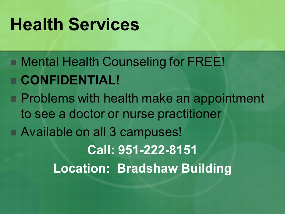 Health Services Mental Health Counseling for FREE.