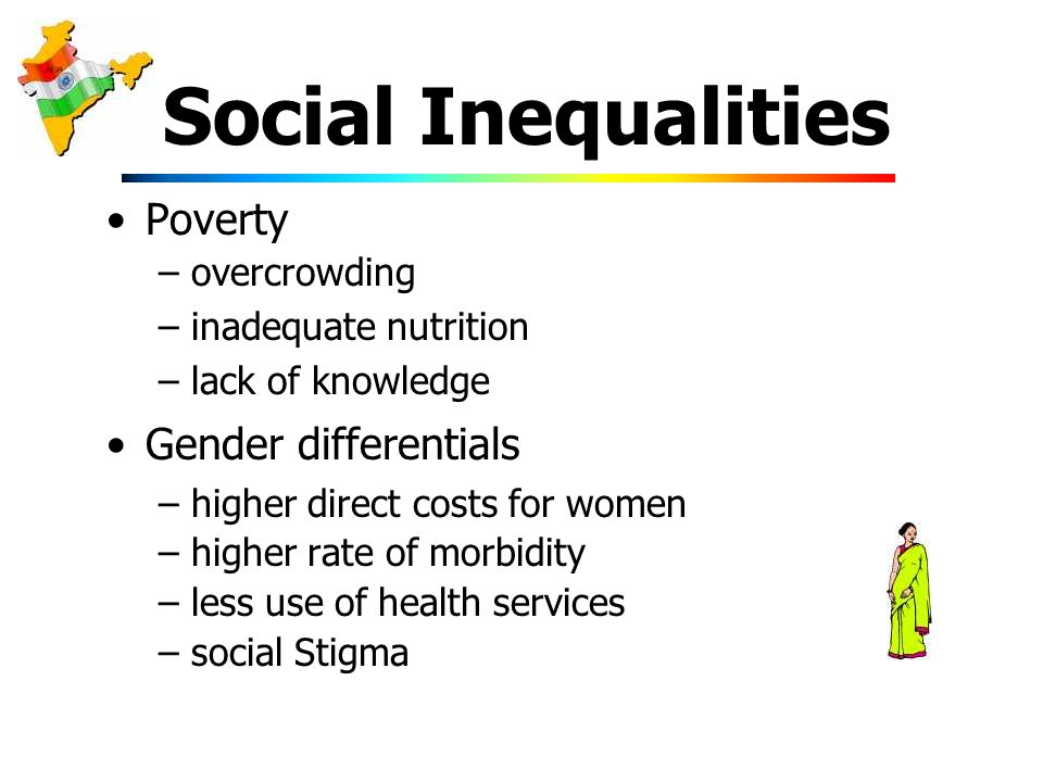 Social Inequalities Poverty –overcrowding –inadequate nutrition –lack of knowledge Gender differentials –higher direct costs for women –higher rate of morbidity –less use of health services –social Stigma