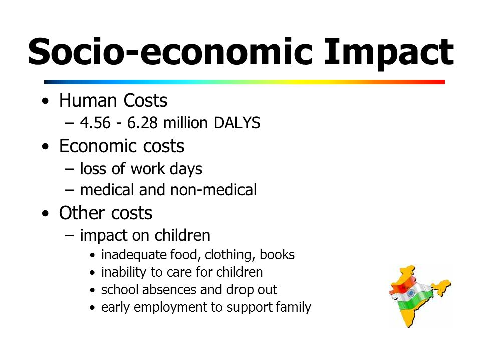 Socio-economic Impact Human Costs – million DALYS Economic costs –loss of work days –medical and non-medical Other costs –impact on children inadequate food, clothing, books inability to care for children school absences and drop out early employment to support family