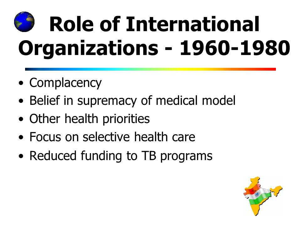 Role of International Organizations Complacency Belief in supremacy of medical model Other health priorities Focus on selective health care Reduced funding to TB programs