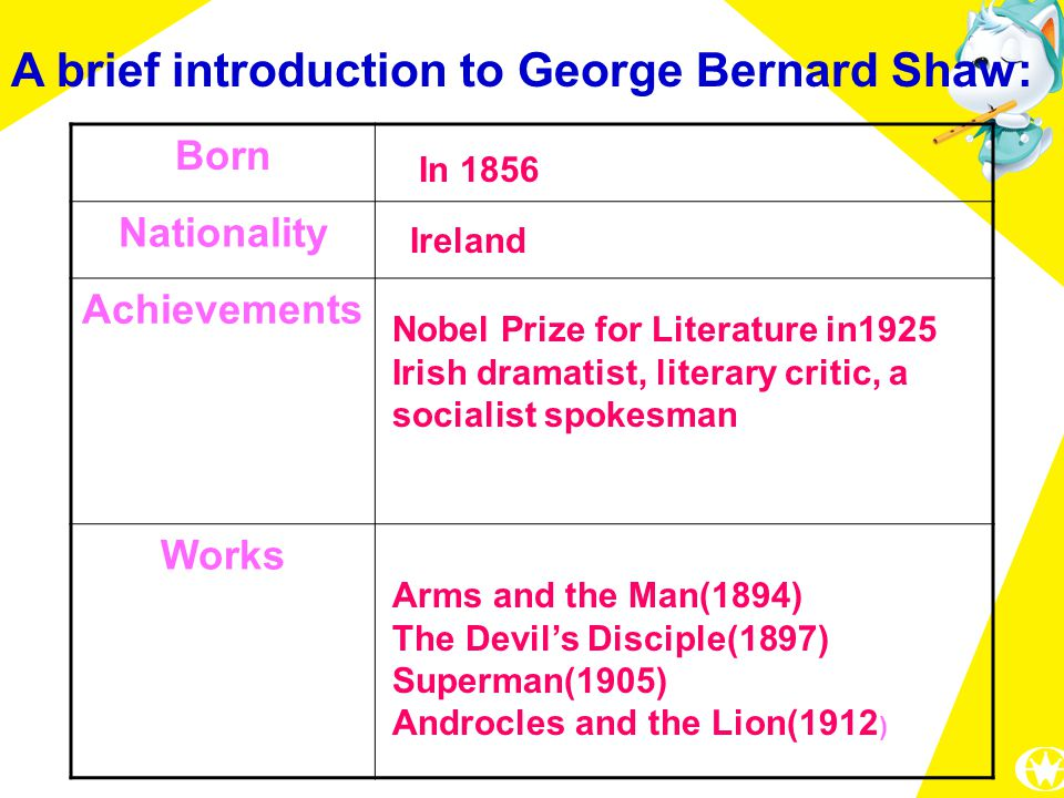 A brief introduction to George Bernard Shaw: Born Nationality Achievements Works In 1856 Ireland Nobel Prize for Literature in1925 Irish dramatist, literary critic, a socialist spokesman Arms and the Man(1894) The Devil's Disciple(1897) Superman(1905) Androcles and the Lion(1912 )