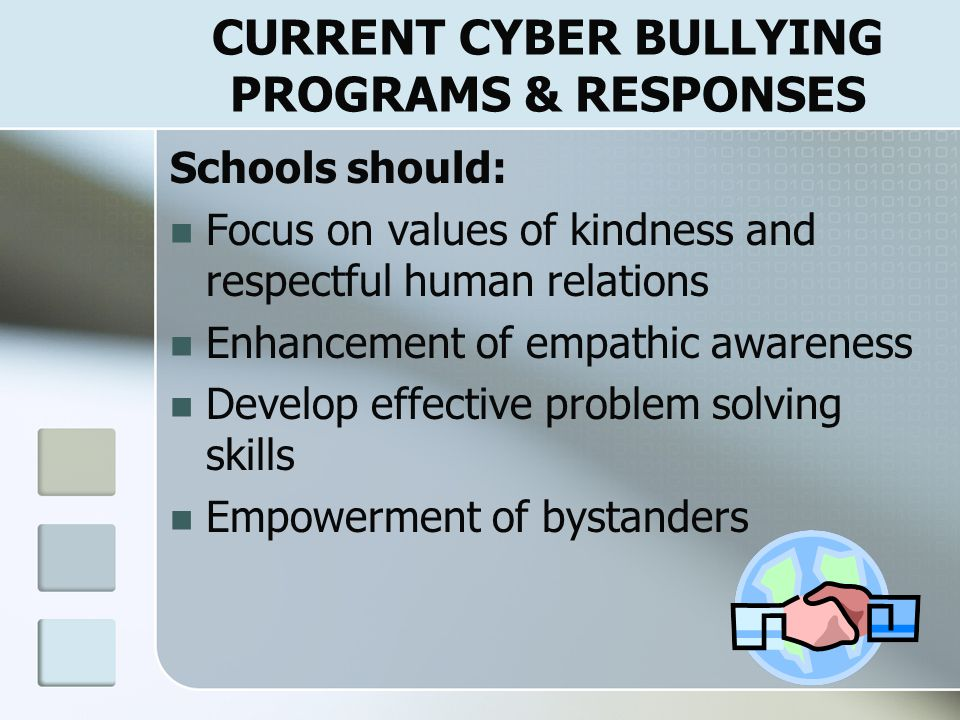 CURRENT CYBER BULLYING PROGRAMS & RESPONSES Comprehensive Plan (Willard, 2005) Schools  Policies concerning misuse of technology  Evaluate how staff is and can more effectively monitor Internet use Parents  Discuss cyber bullying  Supervise and increase effective monitoring of Internet use Since more adults supervise, more children will hide activities, strategies needed to change social norms in these on-line works, empower the victim with knowledge how to prevent & respond, & to discourage bullies from engaging in such activities.