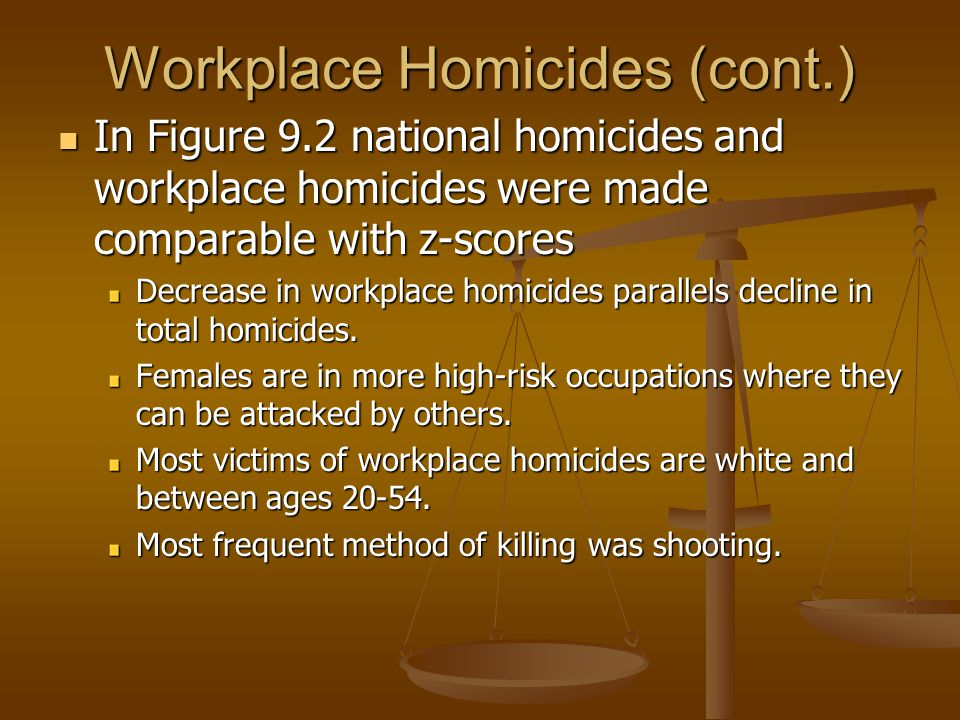 In Figure 9.2 national homicides and workplace homicides were made comparable with z-scores In Figure 9.2 national homicides and workplace homicides were made comparable with z-scores Decrease in workplace homicides parallels decline in total homicides.