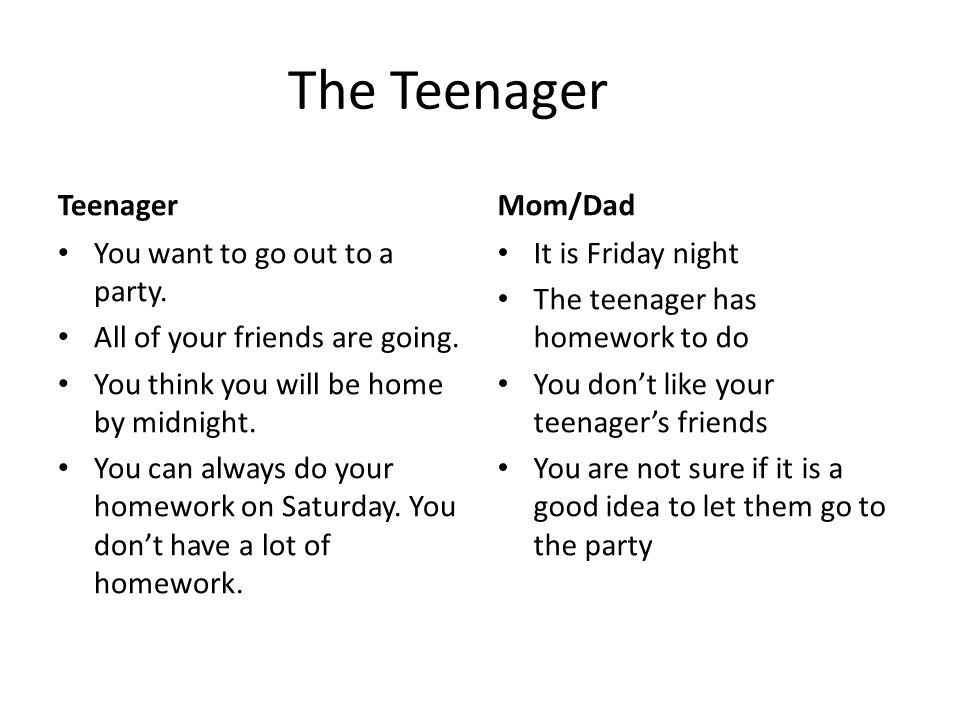 The Teenager Teenager You want to go out to a party.