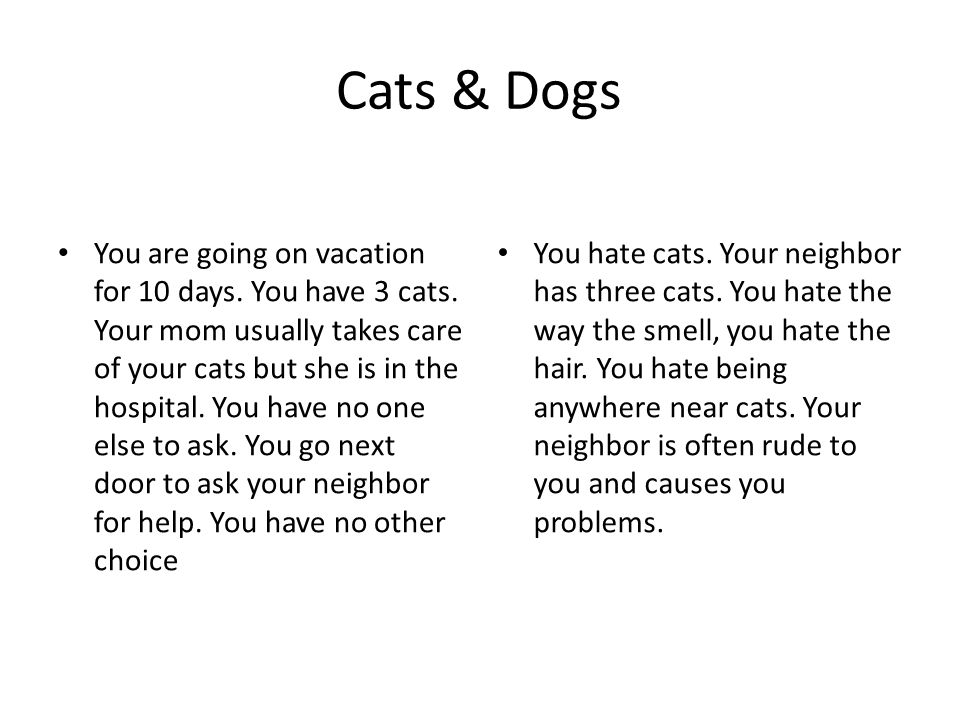 Cats & Dogs You are going on vacation for 10 days.