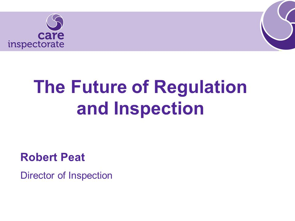 The Future of Regulation and Inspection Robert Peat Director of Inspection
