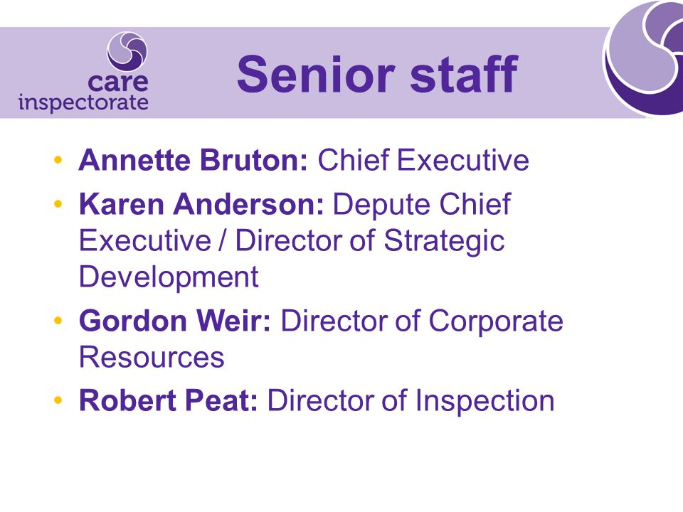 Annette Bruton: Chief Executive Karen Anderson: Depute Chief Executive / Director of Strategic Development Gordon Weir: Director of Corporate Resources Robert Peat: Director of Inspection Senior staff