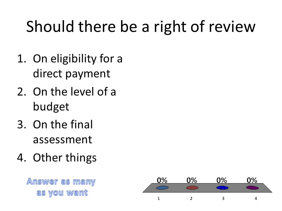 Should there be a right of review 1.On eligibility for a direct payment 2.On the level of a budget 3.On the final assessment 4.Other things