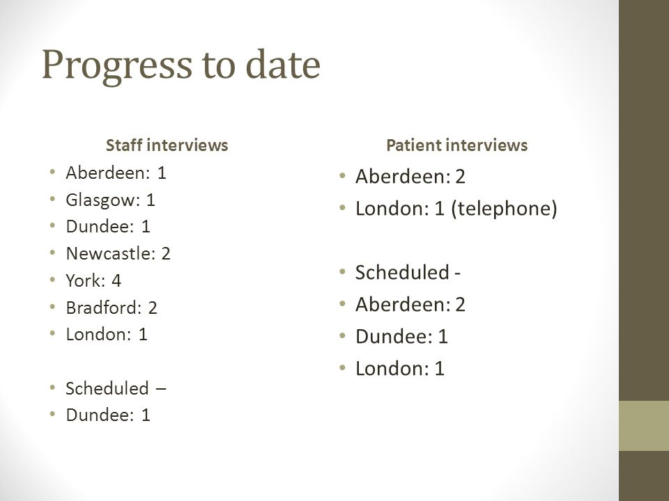 Progress to date Staff interviews Aberdeen: 1 Glasgow: 1 Dundee: 1 Newcastle: 2 York: 4 Bradford: 2 London: 1 Scheduled – Dundee: 1 Patient interviews Aberdeen: 2 London: 1 (telephone) Scheduled - Aberdeen: 2 Dundee: 1 London: 1