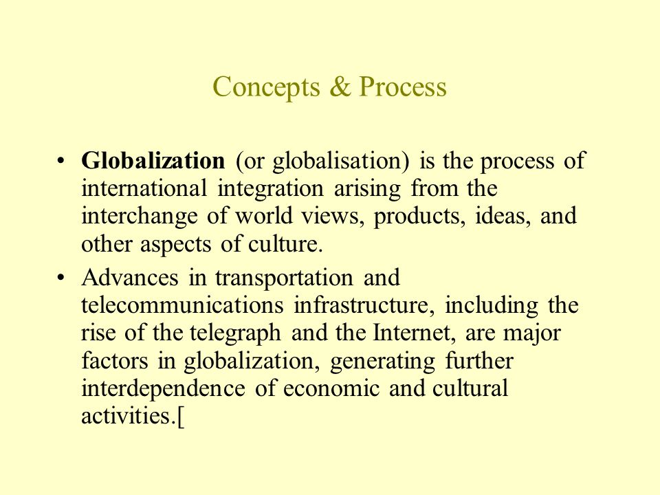 process of globalisation