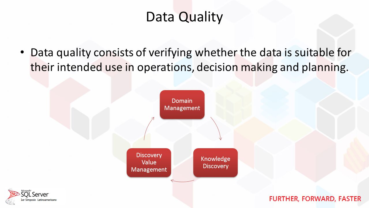 Data Quality Data quality consists of verifying whether the data is suitable for their intended use in operations, decision making and planning.