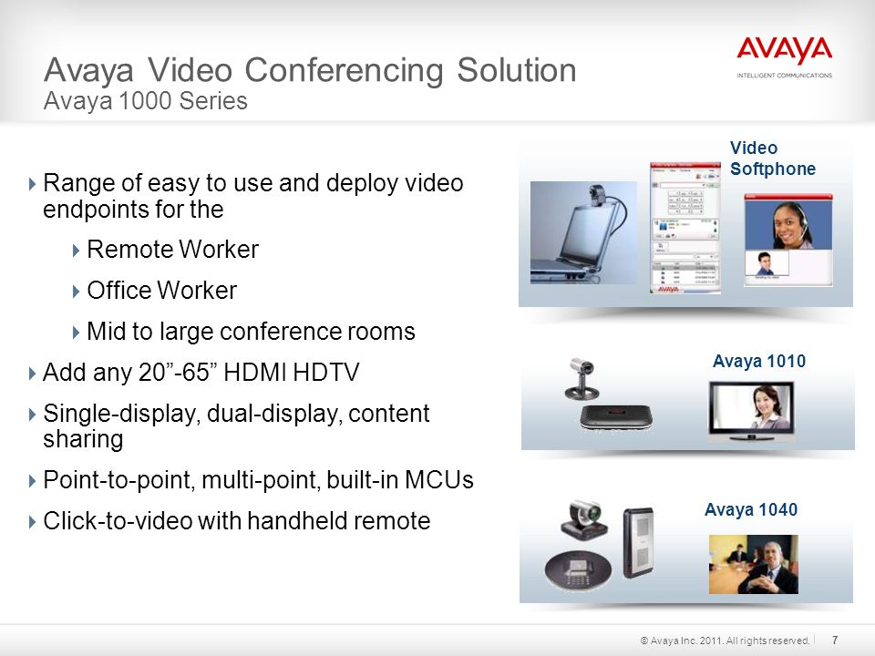 Avaya Video Conferencing Solution Avaya 1000 Series  Range of easy to use and deploy video endpoints for the  Remote Worker  Office Worker  Mid to large conference rooms  Add any HDMI HDTV  Single-display, dual-display, content sharing  Point-to-point, multi-point, built-in MCUs  Click-to-video with handheld remote Avaya 1010 Avaya © Avaya Inc.