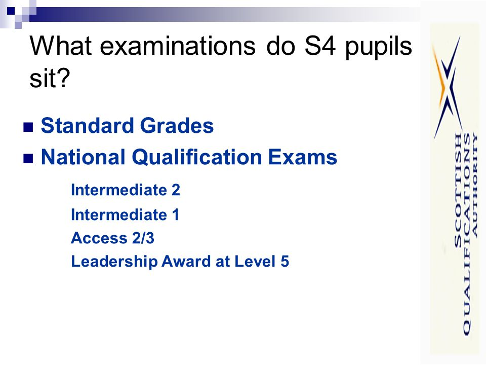 What examinations do S4 pupils sit.