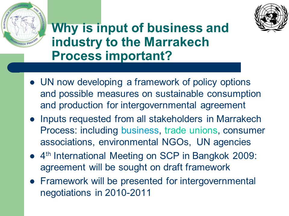 Why is input of business and industry to the Marrakech Process important.