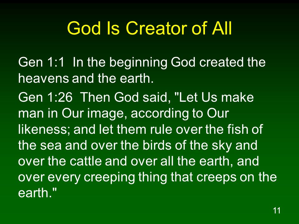 11 God Is Creator of All Gen 1:1 In the beginning God created the heavens and the earth.