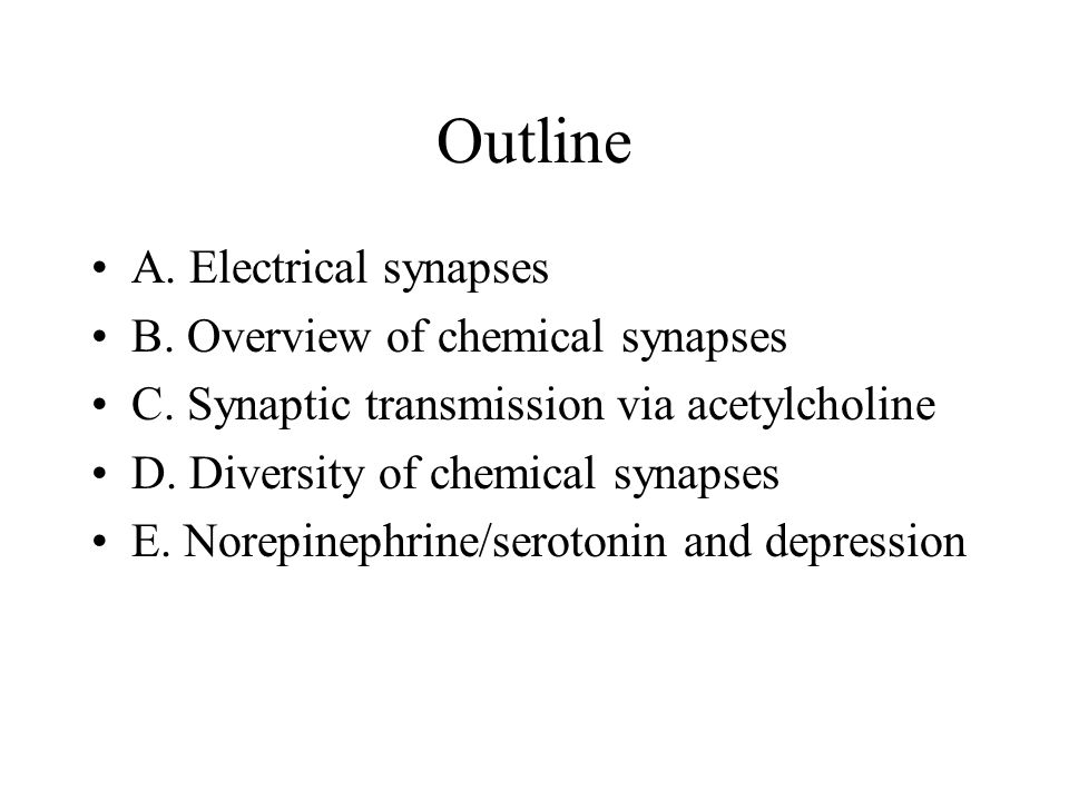 Outline A. Electrical synapses B. Overview of chemical synapses C.