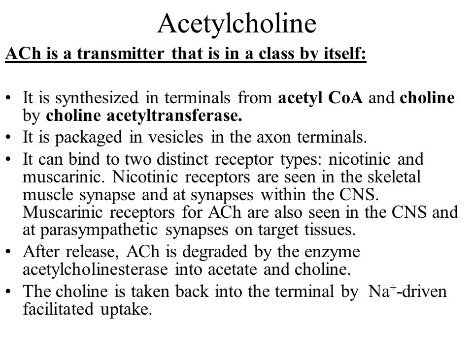 Acetylcholine ACh is a transmitter that is in a class by itself: It is synthesized in terminals from acetyl CoA and choline by choline acetyltransferase.