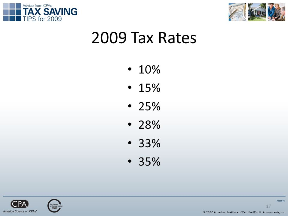 Tax Rates 10% 15% 25% 28% 33% 35% © 2010 American Institute of Certified Public Accountants, Inc.