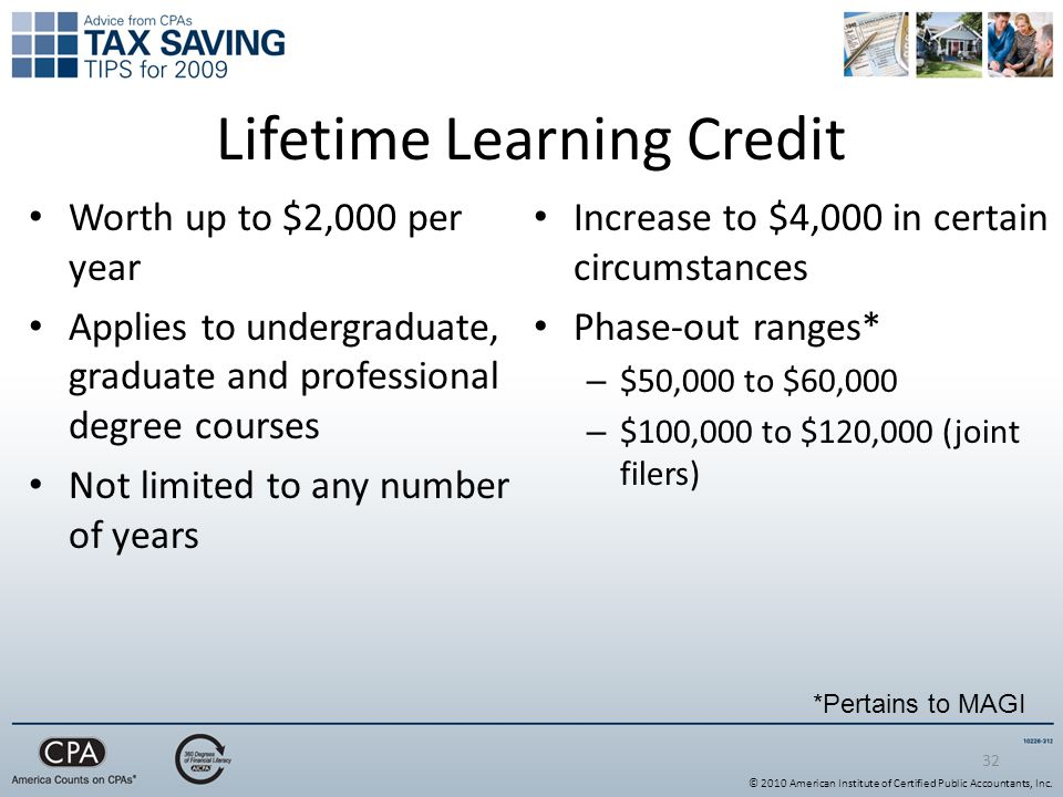 Lifetime Learning Credit Worth up to $2,000 per year Applies to undergraduate, graduate and professional degree courses Not limited to any number of years Increase to $4,000 in certain circumstances Phase-out ranges* – $50,000 to $60,000 – $100,000 to $120,000 (joint filers) 32 *Pertains to MAGI © 2010 American Institute of Certified Public Accountants, Inc.