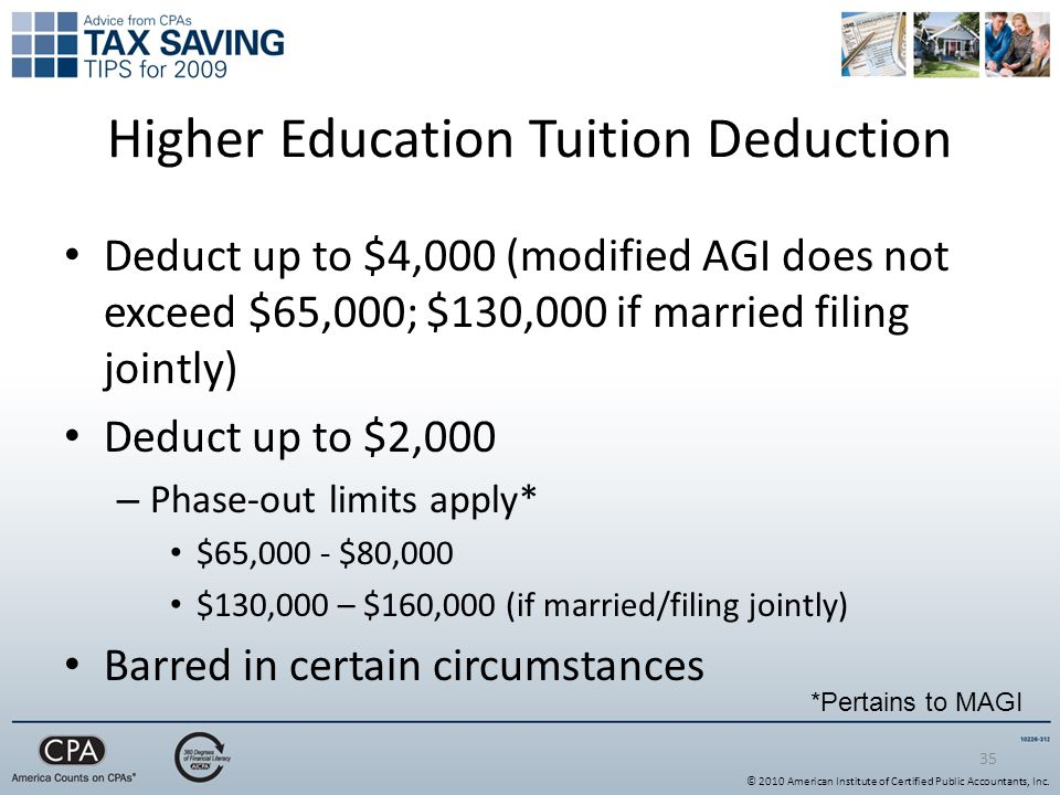 35 Higher Education Tuition Deduction Deduct up to $4,000 (modified AGI does not exceed $65,000; $130,000 if married filing jointly) Deduct up to $2,000 – Phase-out limits apply* $65,000 - $80,000 $130,000 – $160,000 (if married/filing jointly) Barred in certain circumstances *Pertains to MAGI © 2010 American Institute of Certified Public Accountants, Inc.