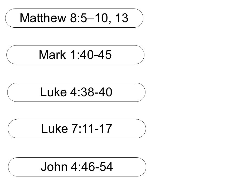 Matthew 8:5–10, 13 Mark 1:40-45 Luke 7:11-17 John 4:46-54 Luke 4:38-40