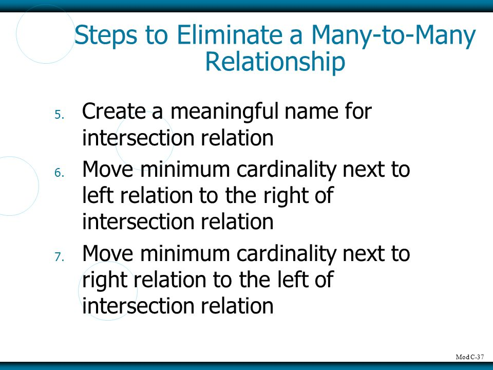 Mod C-37 Steps to Eliminate a Many-to-Many Relationship 5.