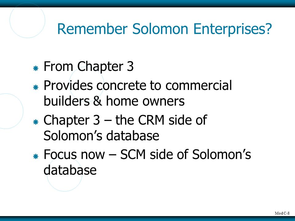 Mod C-8 Remember Solomon Enterprises.