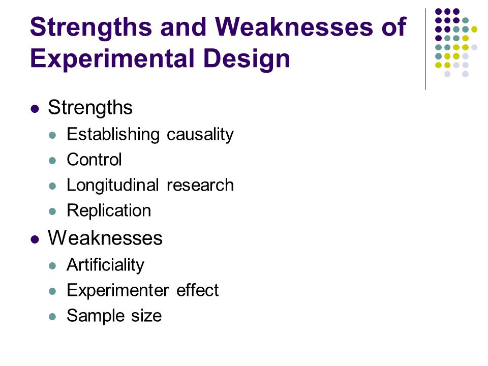 Strengths and Weaknesses of Experimental Design Strengths Establishing causality Control Longitudinal research Replication Weaknesses Artificiality Experimenter effect Sample size