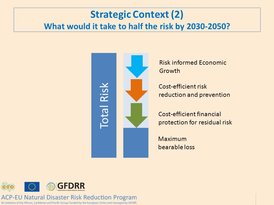 Total Risk Maximum bearable loss Cost-efficient financial protection for residual risk Cost-efficient risk reduction and prevention Risk informed Economic Growth Strategic Context (2) What would it take to half the risk by