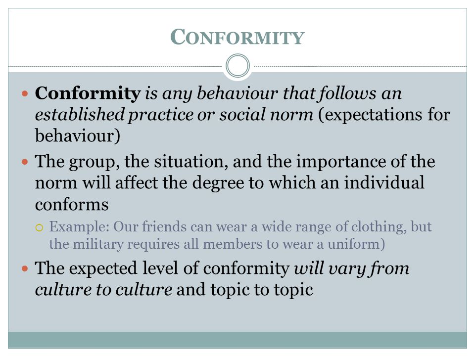 examples of conformity in history
