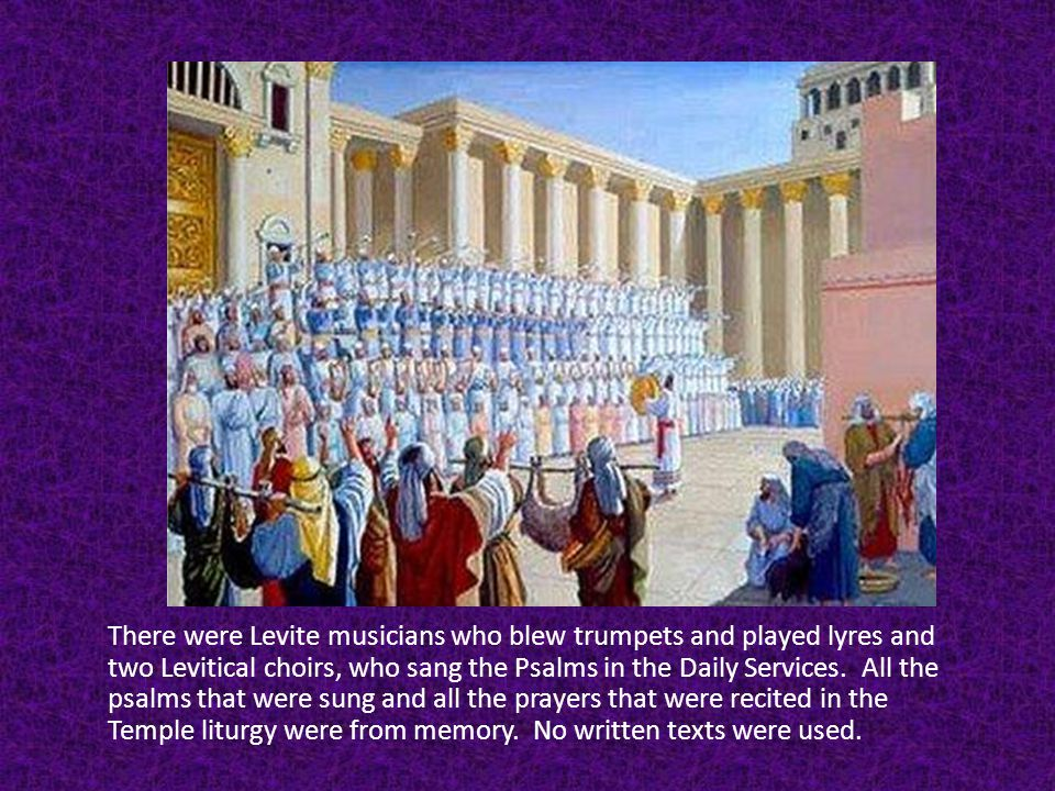 There were Levite musicians who blew trumpets and played lyres and two Levitical choirs, who sang the Psalms in the Daily Services.